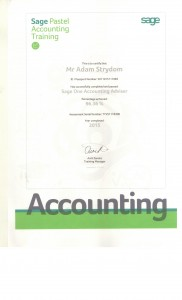 SAGE ONE CERTIFICATE 2015
